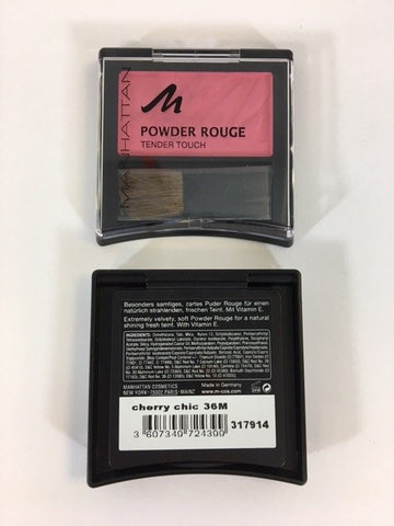 Manhattan Powder Rouge Tender Touch Blush, Cherry Chic 36M x 6 (£0.50 each)