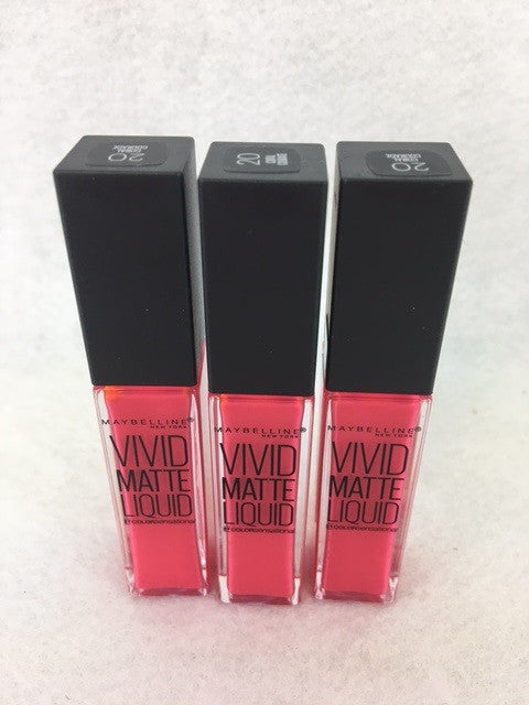 Maybelline Color Sensational Vivid Matte Liquid Lip Gloss, 20 Coral Courage x 6 (£1.20 each) - fizzypeach