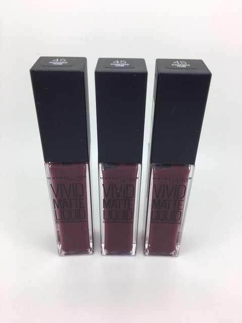 Maybelline Color Sensational Vivid Matte Liquid Lip Gloss, 45 Possessed Plum x 6 (£1.20 each)