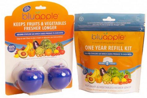Stop throwing out spoiled produce 🍎 & wasting money! 💰Keep Organic & Regular Produce Longer. Get 2 BluApples and a Full Year of Refills! 👍 BluApple is Non Toxic & Preserves your produce on your counter or in the produce drawer. Small & Easy to use!  ✨