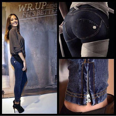 WR.UP® Shaping Jeans Ankle Zip Low Dark Blue + Yellow Stitching