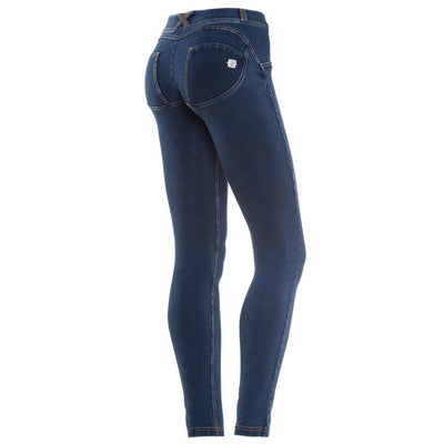 WR.UP® Shaping Jeans Skinny Low Dark Blue + Yellow Stitching