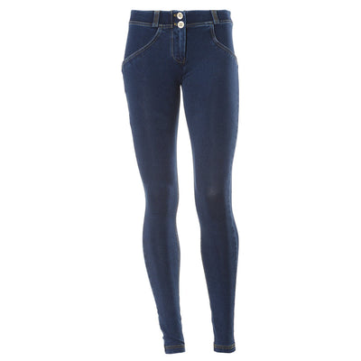 WR.UP® Shaping Jeans Skinny Mid Dark Blue + Yellow Stitching