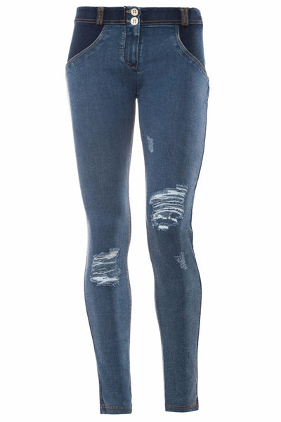 WR.UP® Shaping Jeans Skinny Low Distressed Denim Front Dark Blue + Yellow Stitching