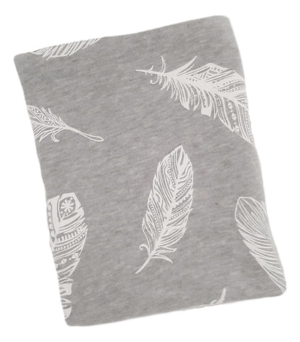 Cotton Knit Blanket- Grey Feathers