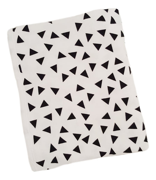 Cotton Knit Blanket- White with Triangles