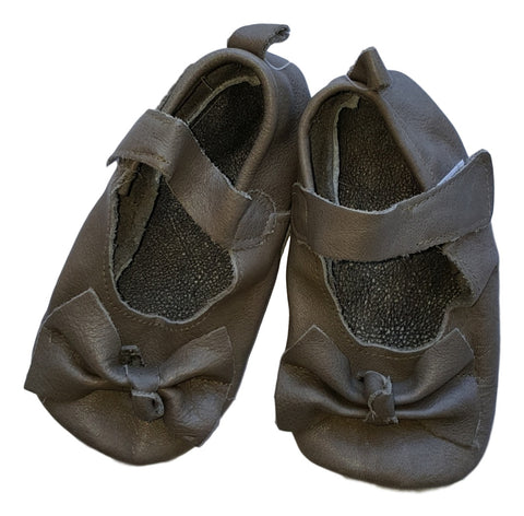 Soft Sole Leather Shoes -  Handmade Khaki Dolly