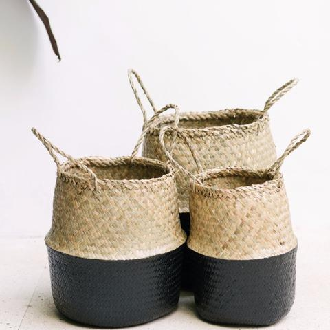 Seagrass Belly Basket - Black - White Moss Collection