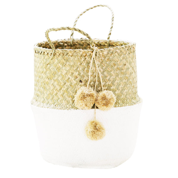 Seagrass Belly Basket - White - White Moss Collection
