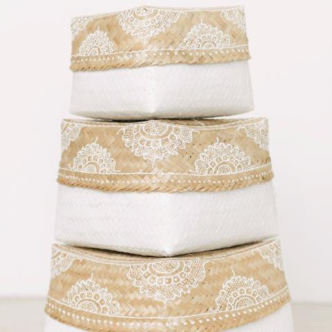 Mandala Rattan Boxes - White Moss Collection