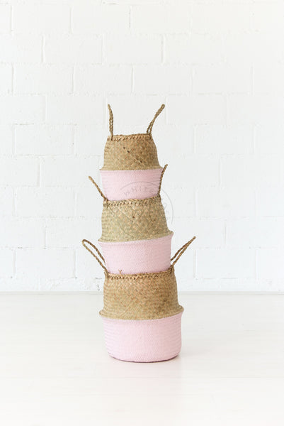 Seagrass Belly Basket - Blush - White Moss Collection