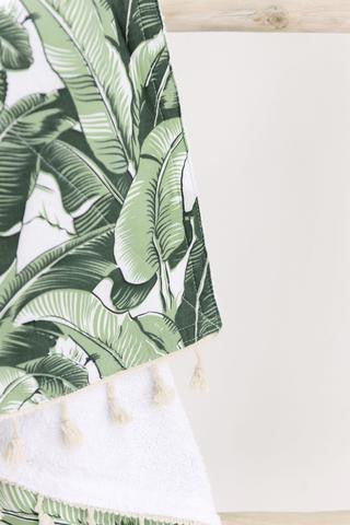 Banana Leaf Beach Throw - White Moss Collection