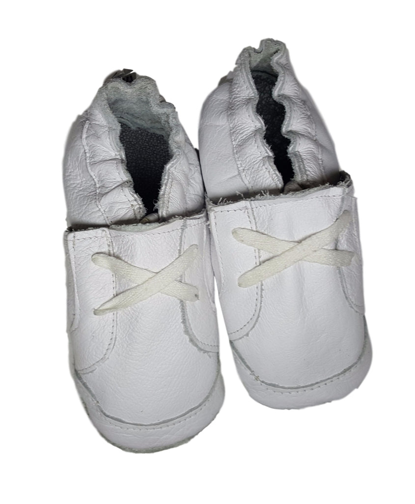 Soft Sole Leather Shoes -  Handmade Boys White