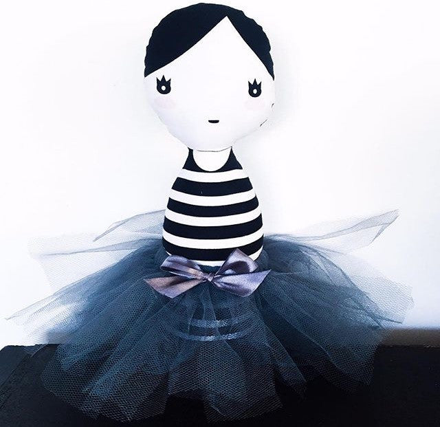 Black and white Stripes Ballerina Doll