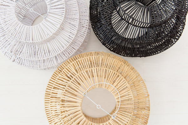 Geo Rattan Pendant Black - White Moss Collection