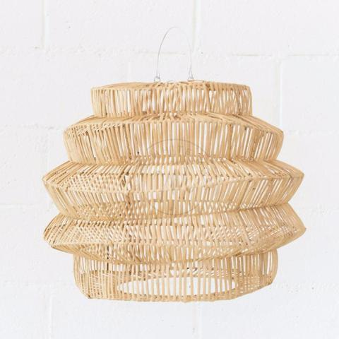 Geo Rattan Pendant Natural - White Moss Collection
