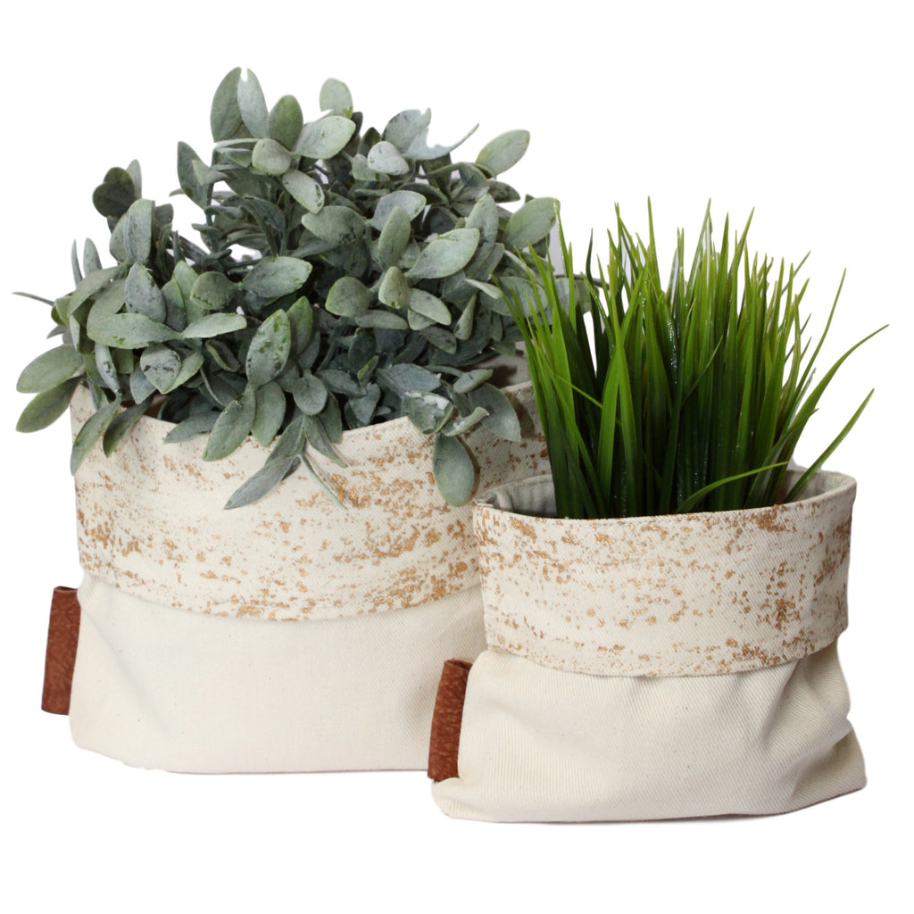 Fabric Planters with Leather - Gold Leafing