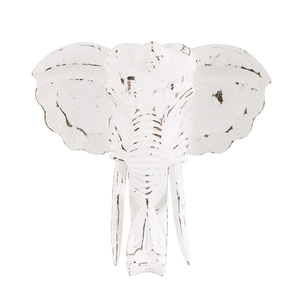 Elephant Head Wall Decor - White Moss Collection