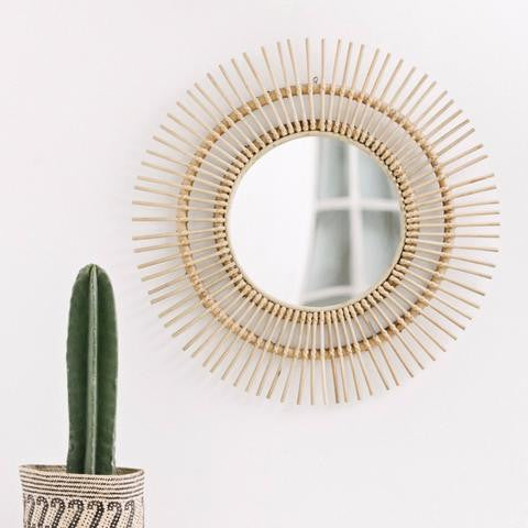 Sunburst Rattan Mirror - White Moss Collection