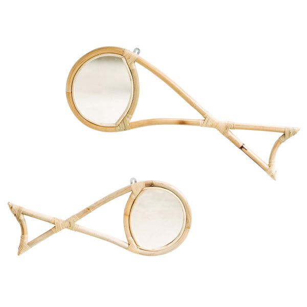 Funny Fish Rattan Mirror - White Moss Collection