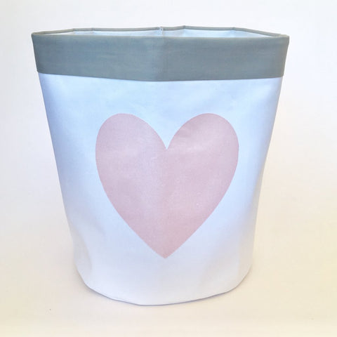 Fabric Storage Bag - Rose Gold Heart