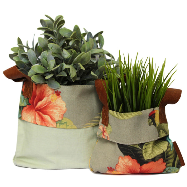 Fabric Planters with Leather - Tropical