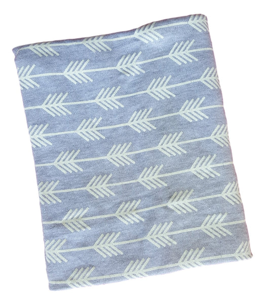 Cotton Knit Blanket- Grey with white arrows