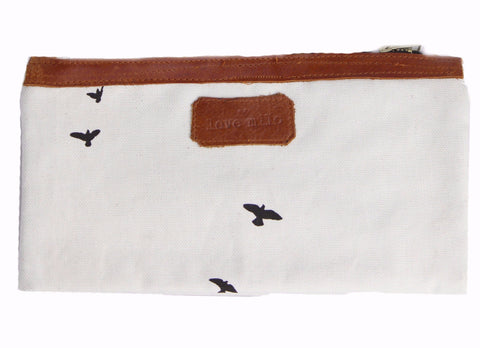 On The Go Purse - Birds/Leather