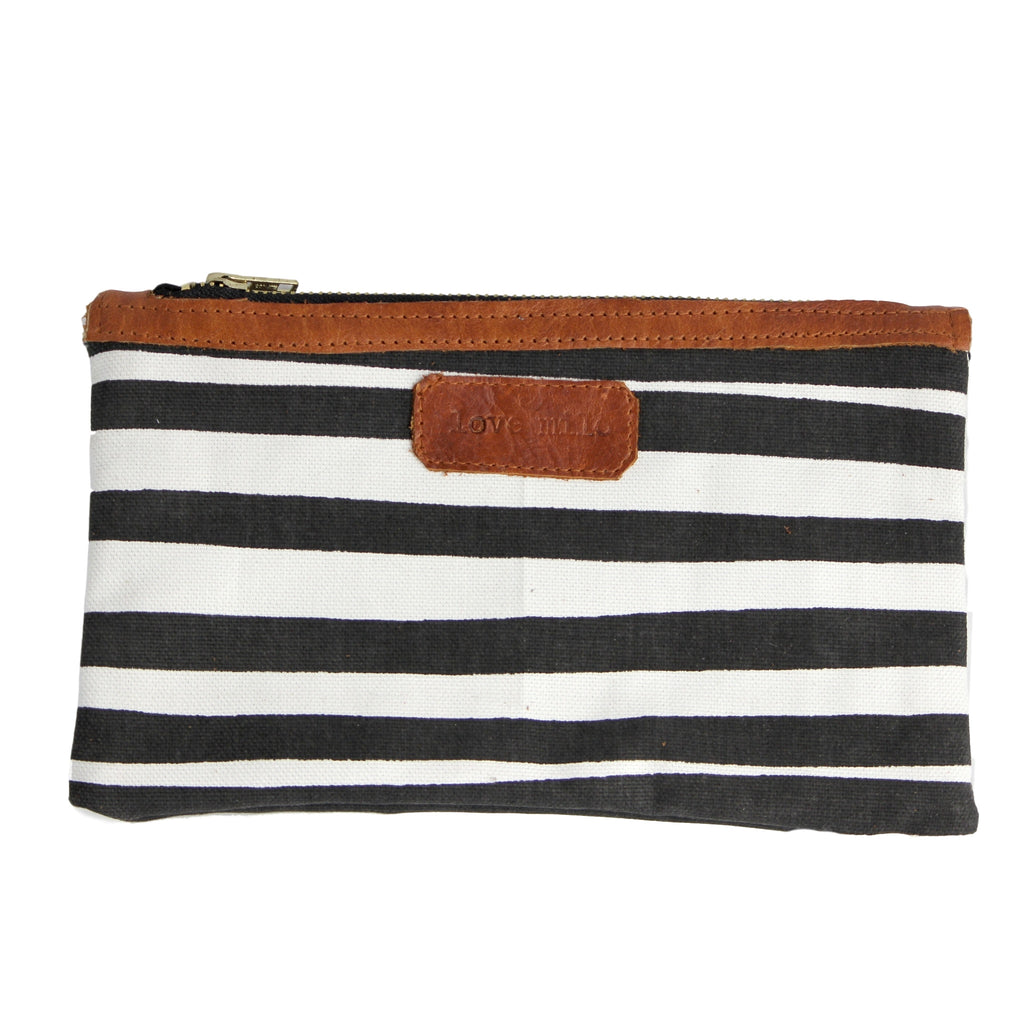 On The Go Purse - Stripes/Leather