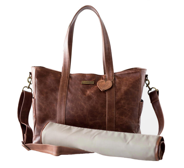 Luxury Leather Baby Bag - Brown
