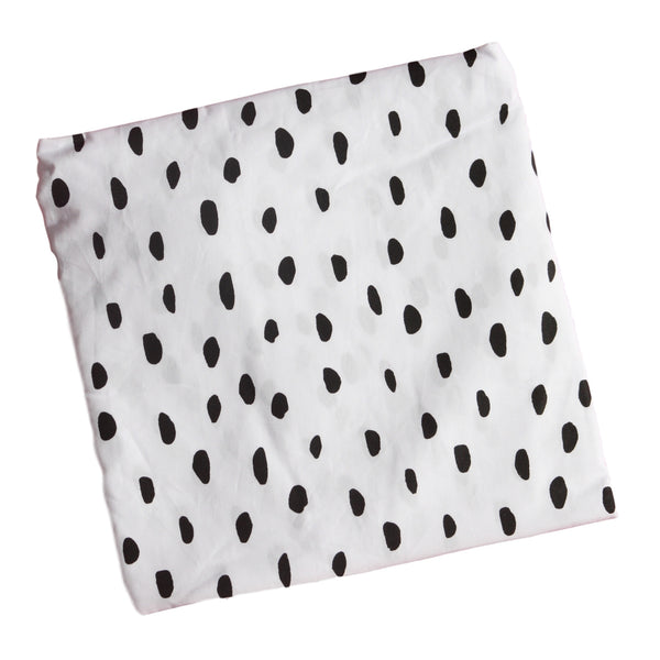 Crib Fitted Sheet - Black Messy Dots