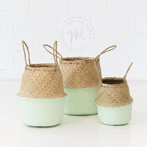 Seagrass Belly Basket - Mint - White Moss Collection