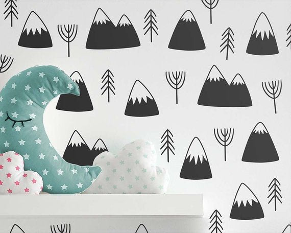Mountains & Trees Wall Stickers - 12 Colours