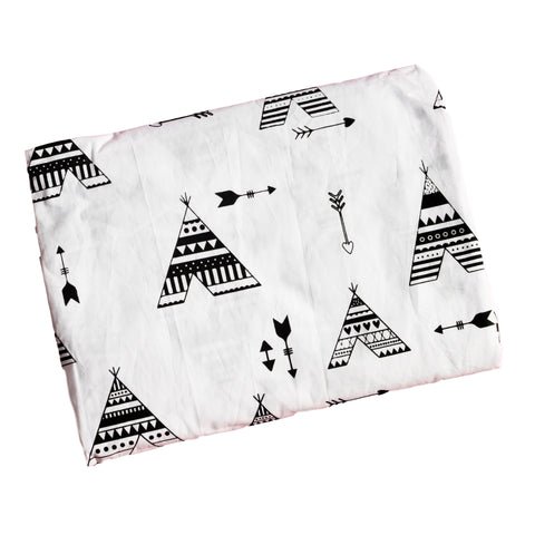 Single & Twin Fitted Sheet - Black Teepee