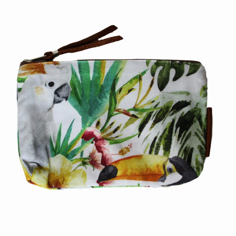 Accessory Bags with Leather  - Tropical Birds