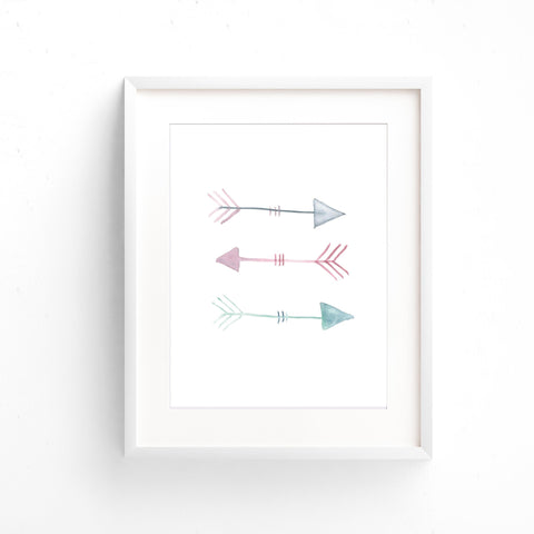 Watercolour Wall Art - Arrows