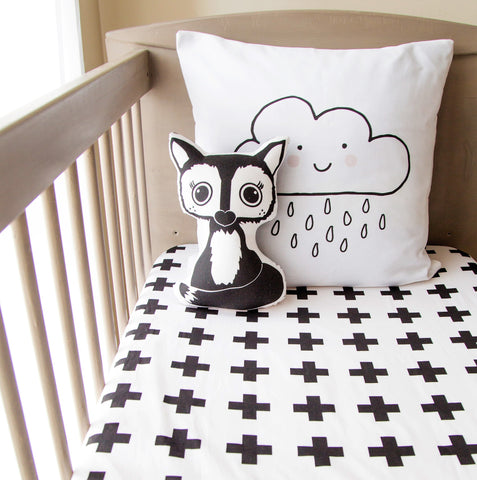 Crib Fitted Sheet - Swiss Cross - Grey & Black