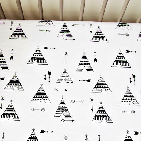 Crib Fitted Sheet - Black Teepee