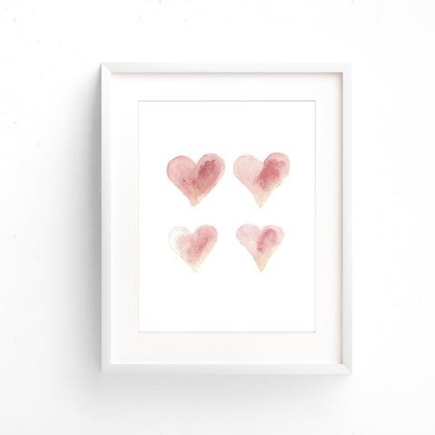 Watercolour Wall Art - Hearts