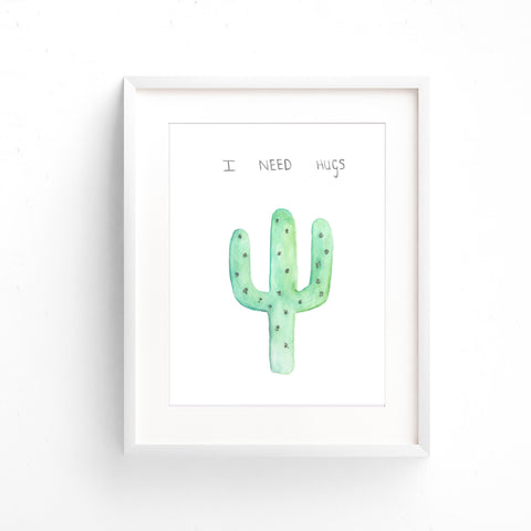 Watercolour Wall Art - I Needs Hugs