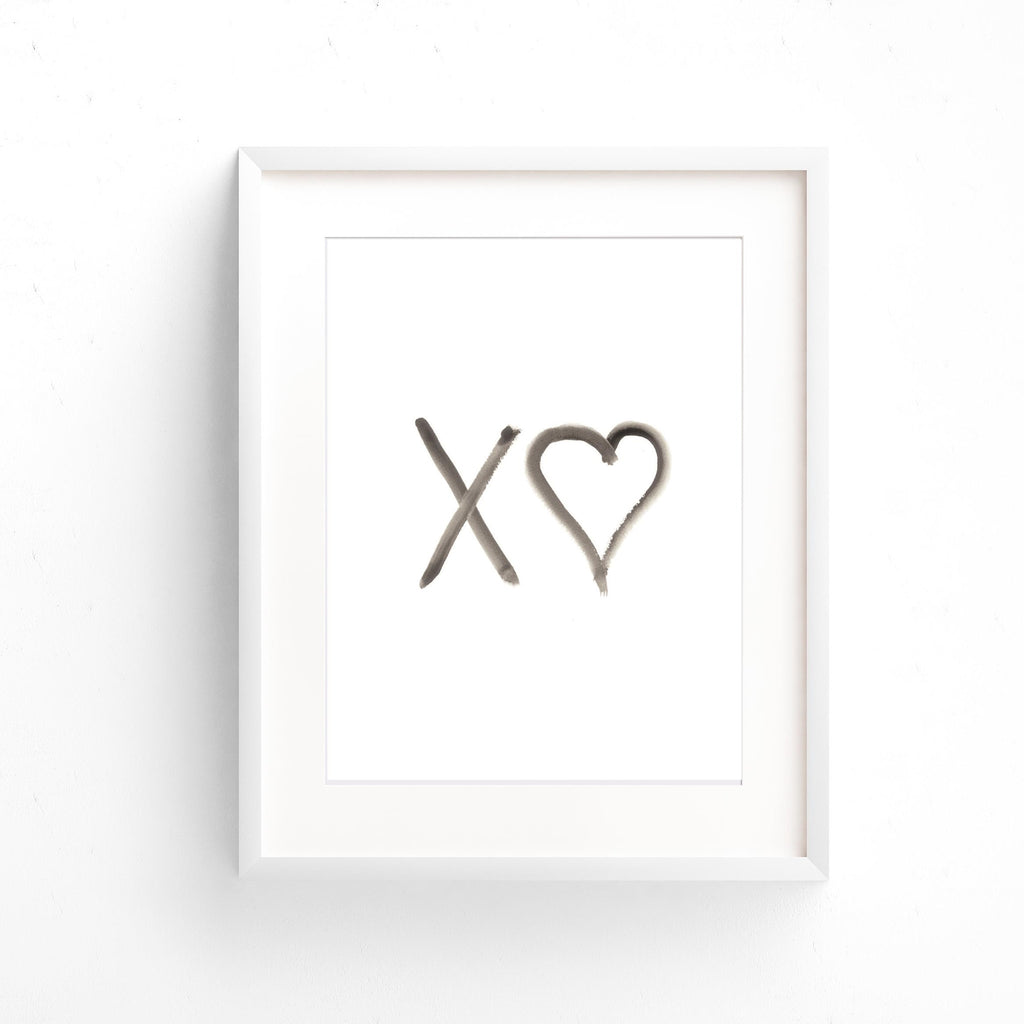 Watercolour Wall Art - Kisses With Hearts