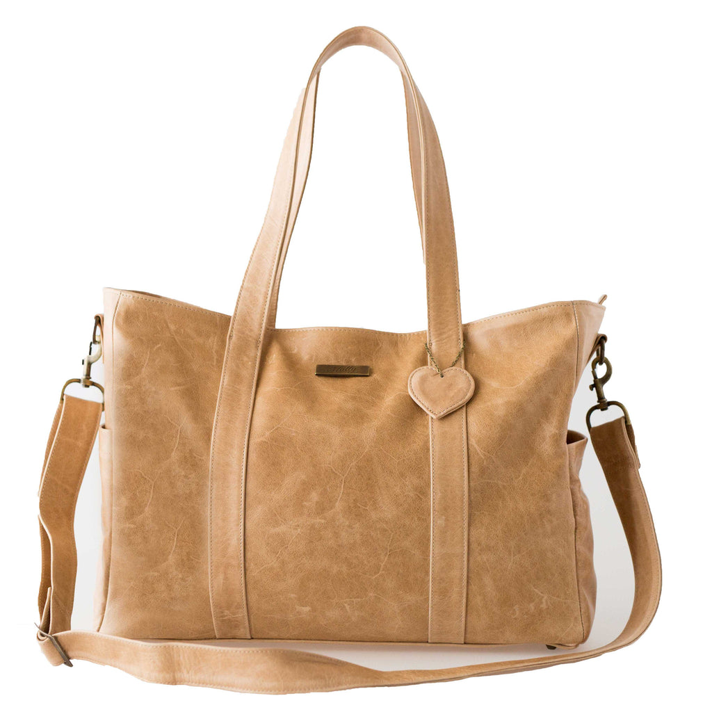 Luxury Leather Baby Bag - tan