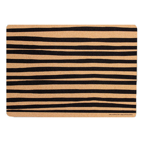 Cork Placemats Set of 2 - Black Zebra Stripe