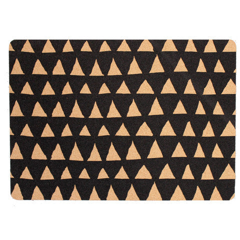 Cork Placemats Set of 2 - Black Triangle