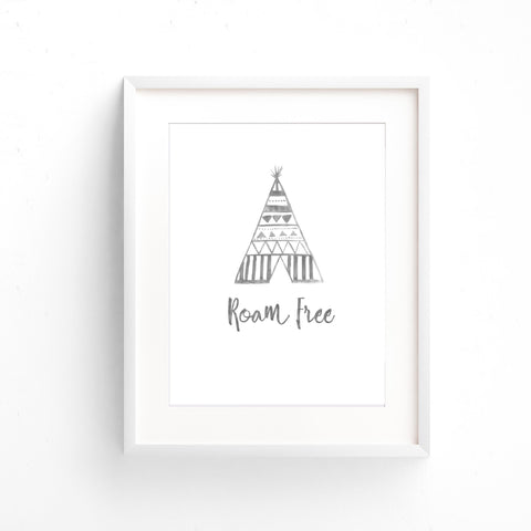 Watercolour Wall Art - Roam Free Teepee