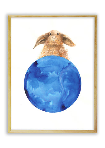 Brown Rabbit on a Blue Ball