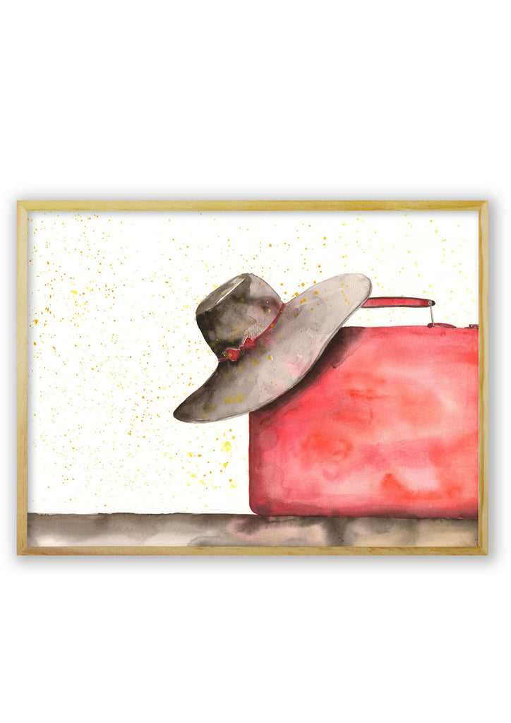 Hat on a Red Suitcase