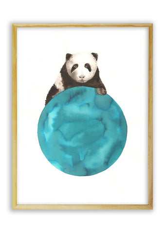 Panda on a Blue Ball