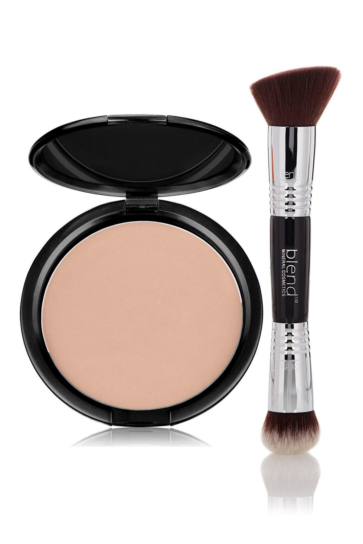 Foundation Pink Tone Light Mineral Pressed Powder & Brush