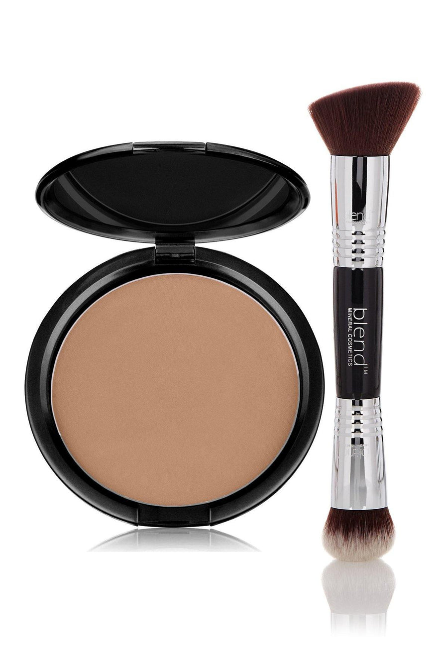 Foundation Brown Tone Light Mineral Pressed Powder & Brush - Blend Mineral Cosmetics
